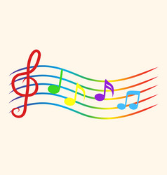 Color music notes on staves vector