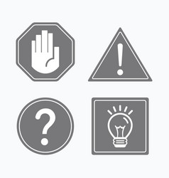 Common gray attention and guide signs icons set vector