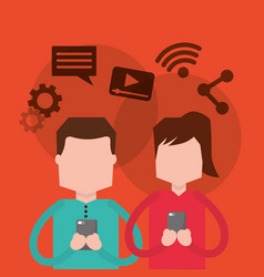 couple using smartphone social media icons vector image