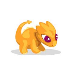 cute cartoon orange baby dragon funny fantasy vector image