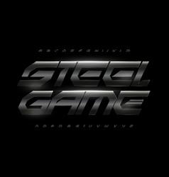 dark gray steel alphabet bold italic font vector image