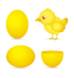 easter day golden chicken baby cartoon character w vector image
