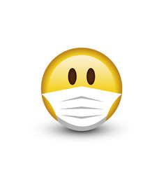 emoji smile face in a medical mask vector image