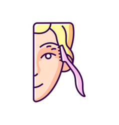 Eyebrow razor rgb color icon vector