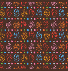 face emotion hand drawn pattern background vector image