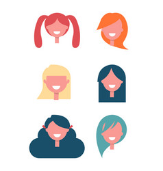 faceless girls heads with stylish hairstyles set vector image