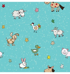 farm animals and flowers vector image