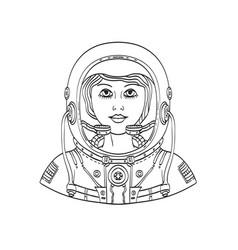 Female astronaut wearing a space helmet vector