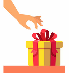 female hand opening gift vector image
