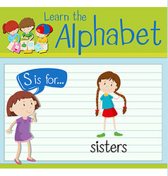 Flashcard letter S is for sisters vector image