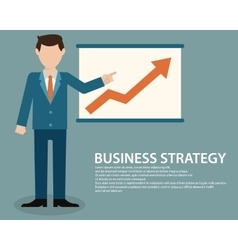 Flat design concept of businessman presenting vector image