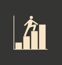 flat in black white people and career chart vector image