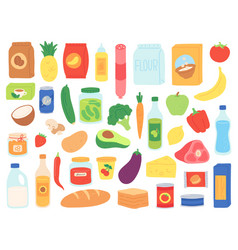 food groceries shop products in bags and bottles vector image