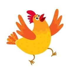 Funny cartoon chicken hen surprised or jumping vector