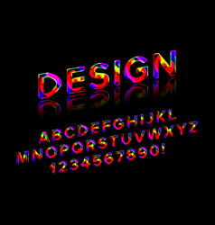 geometric font with shadow vector image