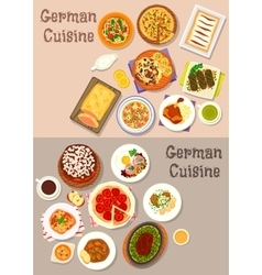 German cuisine meat dishes with dessert icon set vector