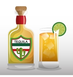 Glass and tequila mexican drink design vector