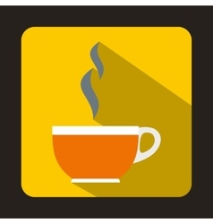 Glass cup of tea icon flat style vector