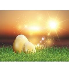 Golden Easter eggs in grass vector image