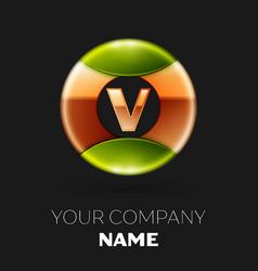 golden letter v logo symbol in golden-green circle vector image