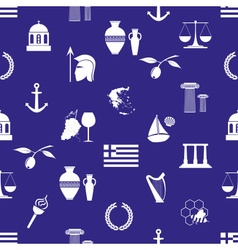 Greece country theme symbols and icons seamless vector