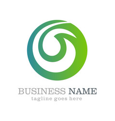 Green abstract round business logo design vector