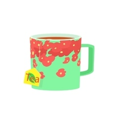 Green cup of tea icon cartoon style vector image