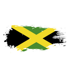 grunge brush stroke with jamaica national flag vector image