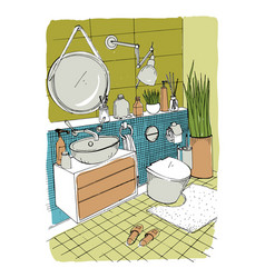 hand drawn modern bathroom interior design vector image