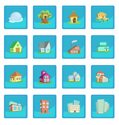 Houses icon blue app vector