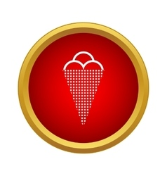 Ice cream in a waffle cone icon simple style vector image