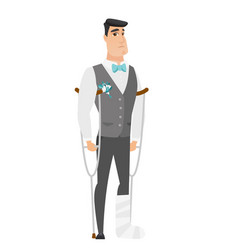 Injured groom with broken leg vector