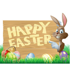 isolated happy easter bunny vector image