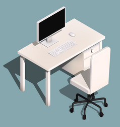 Isometric concept of workplace with computer vector