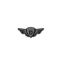 Letter d initial logo wing and badge shield vector