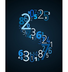 Letter S font from numbers vector