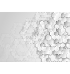 Light grey tech background with hexagons vector image