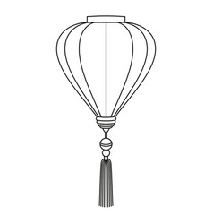 Line art black and white chinese lantern vector