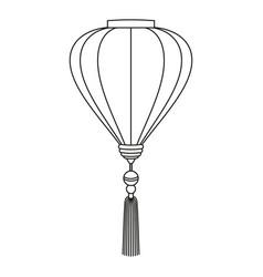 line art black and white chinese lantern vector image