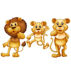 Lion family with one little cub vector
