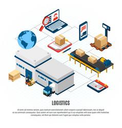 logistics isometric flowchart vector image
