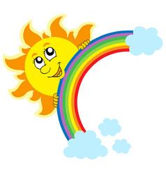 lurking sun with rainbow vector image
