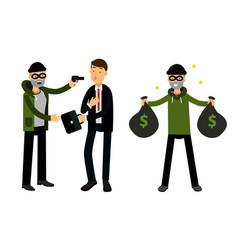 Male burglar or robber in black mask stealing vector