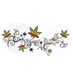 marijuana cannabis leaf jamaican style texture vector image