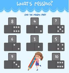 math missing number worksheet vector image