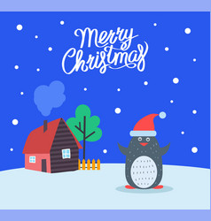 merry christmas greeting poster penguin vector image