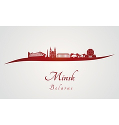 Minsk skyline in red vector image