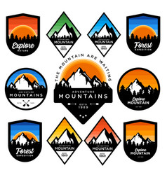 Mountain badge set vector
