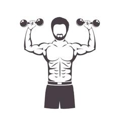 Muscular man lifting a dumbbell vector