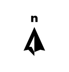 north arrow compass logo icon vector image
